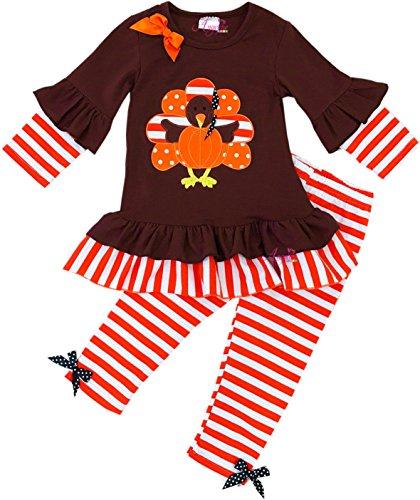 Angeline Boutique Clothing Girls Fall Thanksgiving Stripe Turkey Top Legging Bow Set 5T/L