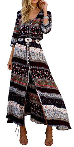 R.Vivimos Women Summer Print V Neck Maxi Dresses - Womens Brown Western Dress