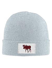 Buffalo Plaid Moose Lumberjack Red Black Man's Slouchy Beanie Knit Cap