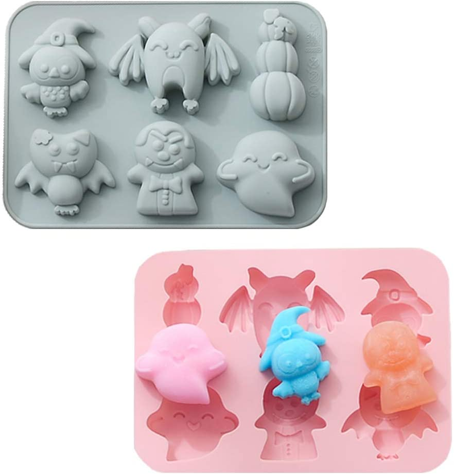 Halloween Silicone Baking Molds 2 Pack Nonstick Cake Pans with Pumpkin Bat Skull Ghost Elves Shapes for Chocolate Candy Gummy Jello Ice Cube Biscuits Soap Molds for Kitchen DIY Baking Tools