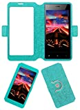 Acm SVIEW Window Designer Rotating Flip Flap Case for Micromax Canvas Xpress 4g Q413 Mobile Smart View Cover Stand Turquoise