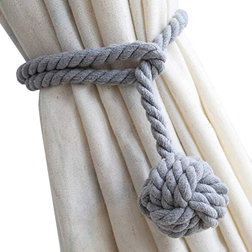 DEZENE 4 Pack Curtain Tiebacks,Handmade Natural Cotton Rope Drapery Tie Bakes,Decorative Holdbacks Holders for Window Sheer and Blackout Panels,Grey (Holdback Decorative)