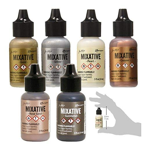 (Ranger Tim Holtz Metallic Mixatives | Bundle of 6 Colors: Silver, Gold, Rose Gold, Gunmetal, Pearl, Copper )