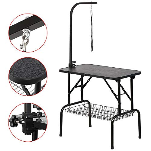 Yaheetech 32-inch Portable Pet Dog Grooming Table w/arm/Noose/Mesh Tray