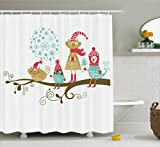 Ambesonne Christmas Decorations Collection, Cheerful Animals with Christmas Costumes on Tree Branch in Winter Kids Nursery Theme, Polyester Fabric Bathroom Shower Curtain Set with Hooks, Multi
