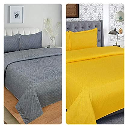 BLENZZA DECO Glace Cotton 2 Double BEDSHEET with 4 Pillow Covers-Yellow,Grey