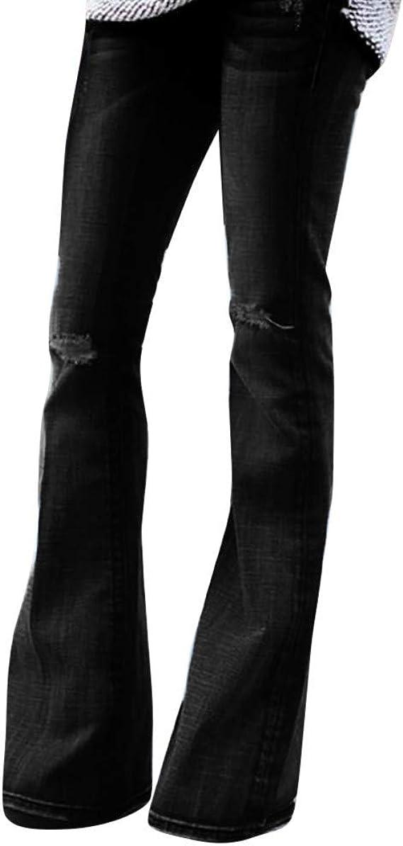 Risthy Pantalones Acampanados Mujer Mujer Pantalones Vaqueros Campanas De Campana Cintura Alta Jeans De Mujer Elastico Con Arco Retro Flared Jeans Mujer Vaqueros