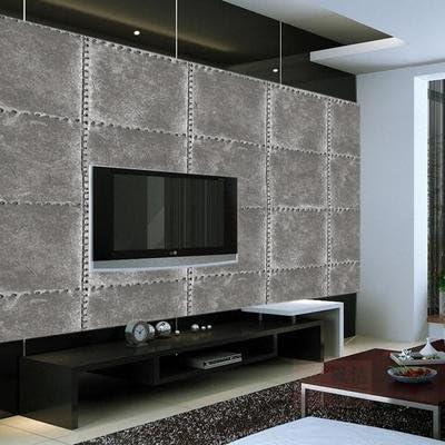 El reconstruido para emulación de remaches de cuero antiguo papel de pared tiendas restaurante face el hotel club TV, papel de pared, fondo gris, 53*1000 1951: Amazon.es: Hogar