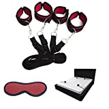 Under the bed Restraint system - wrist and ankle cuff velcro adjustable soft and comfortable cuffs for leg, ankles and wrist, with eye mask blindfold