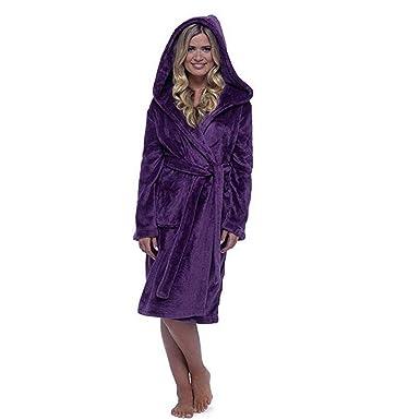 973f151a30 MCYs Peignoir S - 5XL Court Femme à Capuchon Robe de Chambre Micro-Fibre  Douillette