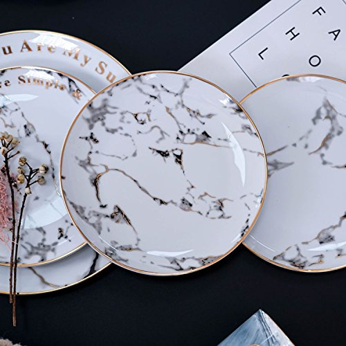Vintage Japanese Style Marble Porcelain Dessert Bread Plate Breakfast Tray Ceramic Exquisite Dinner Salad Plate Steak Dish Platter with Gold Electroplate Edged Home Party Decoration