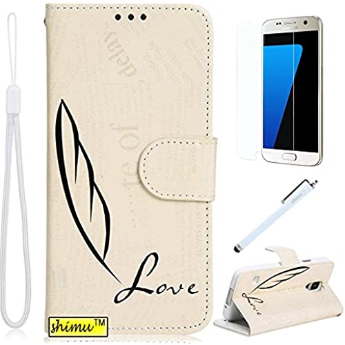 SHIMU, Galaxy s7 Case,s7 Case,Elegant Flip Pu Leather Stand Wallet Shell Cover for Samsung Galaxy s7 Feather Sales