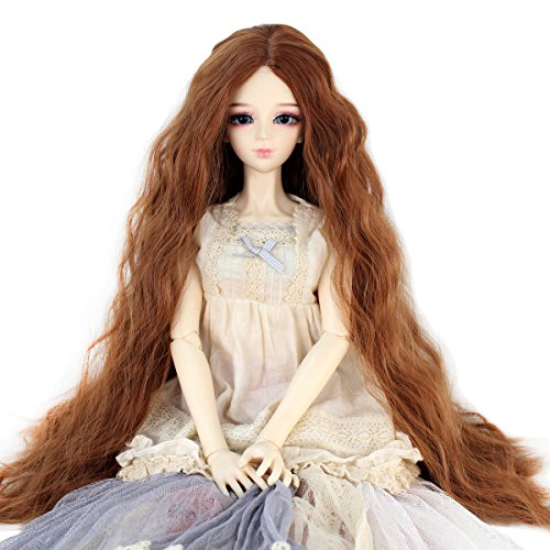 Long Kinky Curly 9-10inch 1/3 BJD MSD DOD Dollfie Doll Hair Wig Centre Parting Hair Accessories Not for Human (light brown)