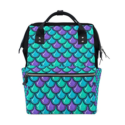 ALIREA Colorful Fish Mermaid Scales Diaper Bag Backpack, Lar