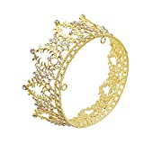 CamingHG Rhinestone Cake Topper Crown Fancy Party Cake Decoration Princess And Prince Headpiece (Gold)