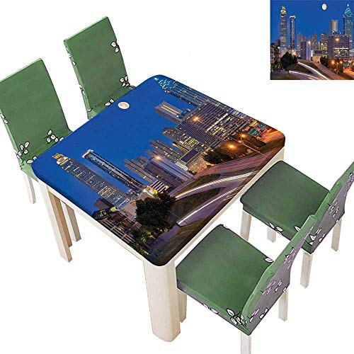 (Printsonne Decorative Tablecloth Cityscape with Skyscrapers at Night Highway Atlanta Georgia Photo for Dining Room and Party 50 x 50 Inch (Elastic Edge))