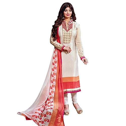 Designer Italian Crepe Embroidery Readymade Salwar Kameez Indian – 0X Plus, Beige