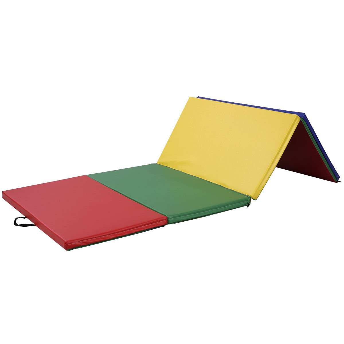 4'x10'x2'' Thick Folding Panel Gymnastics Mat Gym Fitness Exercise Multicolor