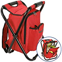 Outrav Red Backpack Cooler and Stool - Collapsible...