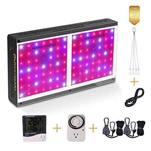 MARS HYDRO 300W 600W Led Grow Light Full Spectrum for Indoor Plants Veg and Flower Hydroponic with Thermometer Hygrometer Hanger Growing Daisy Chain Extremely Cool and Quiet (ECO 600W) ()
