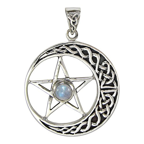 Sterling Silver Celtic Crescent Moon Pentacle Pendant with Natural Rainbow Moonstone (Pentacle Moon Pendant Celtic)