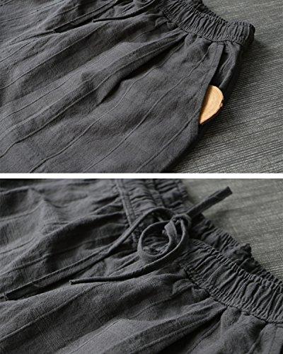 Large Cordon Avec Poches À La Palazzo Aeneontrue Droite Femmes Taille Vérifier Gris Élastique Pantalon Jambe Lin Coton w1XZv0q8