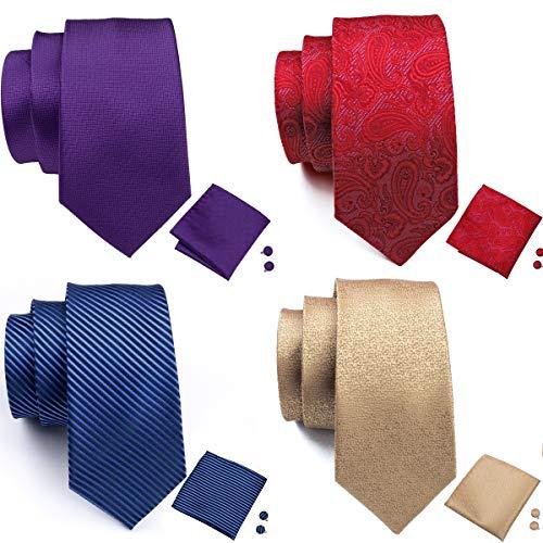 Barry.Wang Men's Tie Set Silk Wedding Neckties Jacquard Woven Fashion Formal Business (4PCS Tie Set-2) ()