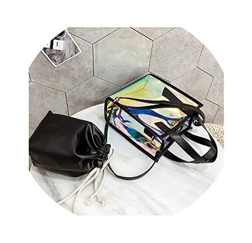 Women Handbags Transparent Jelly Beach Bag Ladies Tote Shoulder Bags Crossbody Bags For Women Messenger Bag Summer,Black,23x21x12cm
