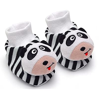 Black & White Pair of Panda Baby Booties Foot Rattles : Baby