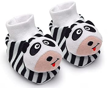 Amazon Com Black White Pair Of Panda Baby Booties Foot Rattles