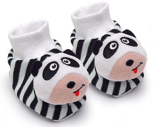 Black & White Pair of Panda Baby Booties Foot Rattles by Genius Baby Toys
