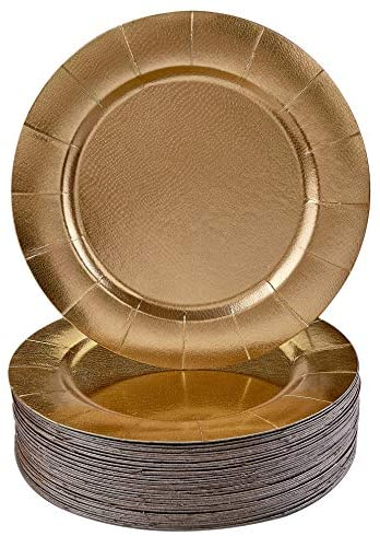 Classic Gold Round Disposable Charger Plates 20pc Saucers Amazon Com