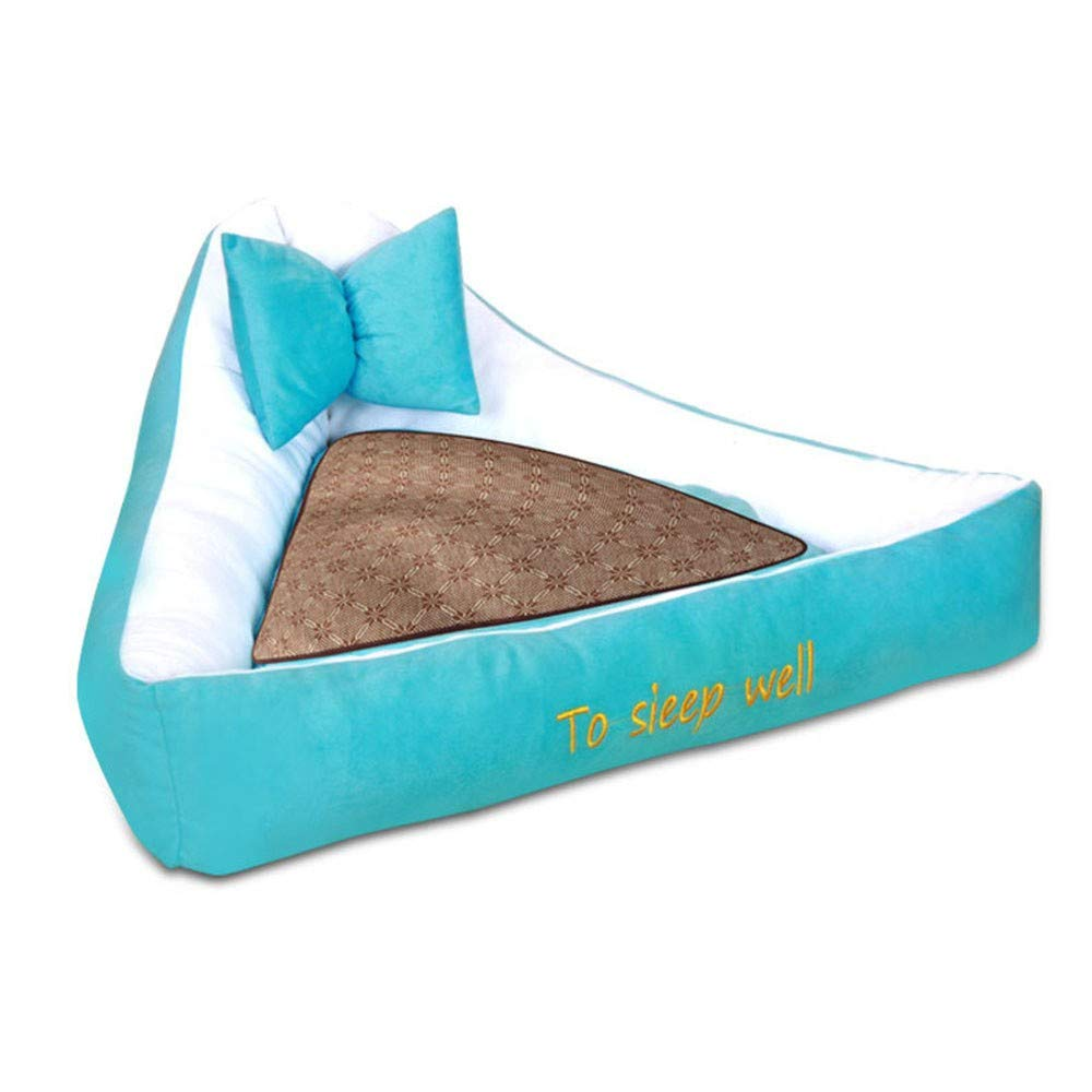 bluee M bluee M Pet Dog Bed-Best Friends Portable Kennel Indoor Outdoor Autumn and Winter Thick Removable Washable Cushion Triangle Dog Supplies, M, bluee