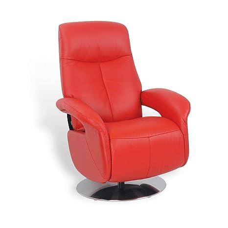 Paros - Sillón de Relax Manual, Muy cómodo, de Piel, Rojo ...