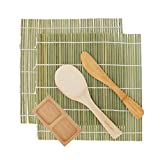 BambooMN Sushi Making Roller Kit 2x Bamboo Rolling Mats, 1x Rice Paddle, 1x Spreader, More Options and Style | 100% Bamboo Mats and Utensils