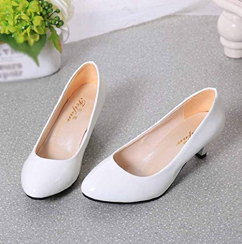 cddf83c74af16 Women Pointed Toe Pump Shoes Kitten Heel Pumps Dress Work Party Shoes  Bridal Wedding Party Low Heel Pump Shoes JHKUNO White
