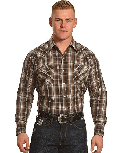 ELY CATTLEMAN Men's Lurex Plaid Long Sleeve Snap Shirt Brown Medium (Shirt Plaid Lurex)