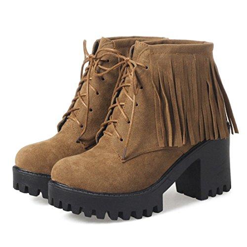 YE Damen Ankle Boots Chunky Heels Schnürstiefel Plateau mit Fransen und Bolckabsatz 8cm Herbst Winter Modern Schuhe Braun