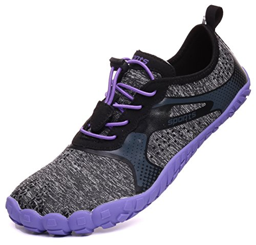 WHITIN Barefoot Shoes for Jogging Workout Trail Running Trekking Hiking Fitness Water Sports Driving Diving Surf Sports Pool Beach Walking Yoga Purple Grey 7.5 B(M) US Women/6.5 D(M) US Men