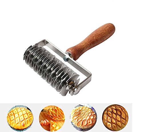 K-Steel Dough Lattice Top Cookie Pie Pizza Bread Pastry Crust Roller Cutter,Wood handle,Stainless Steel by K-Steel (Image #2)'