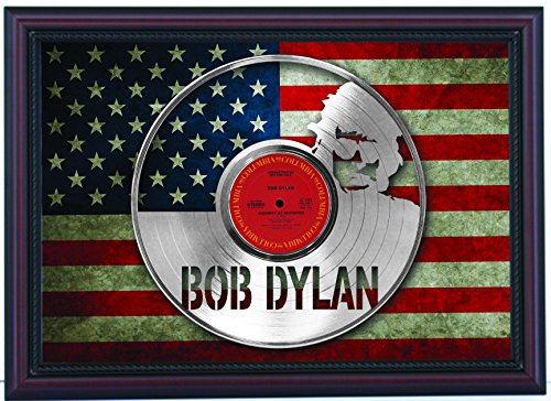 Bob Dylan Highway 61 Revisited Custom Cherry Framed Laser Cut Platinum LP & Flag Display