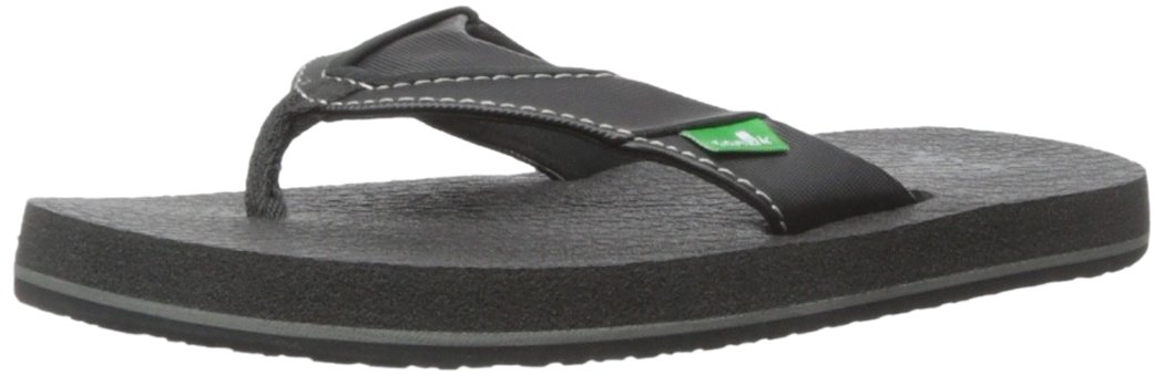 Sanuk Boys Root Beer Cozy YTH Flip Flop Black, 4/5 M US Big Kid