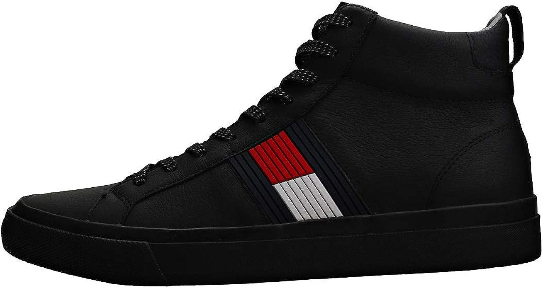 Tommy Hilfiger Denim Herren Sneaker Flag Detail High fm0fm01713990 schwarz 540514