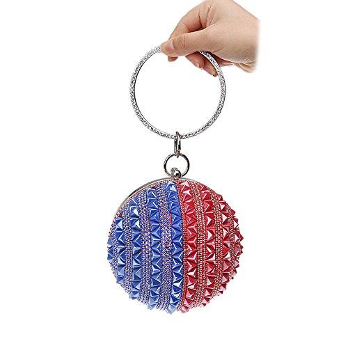 Pochette Redandblue Sac Soirée De Diamant Main Rond Sac Dames Coloré à Sphérique Bracelet H7gqw5