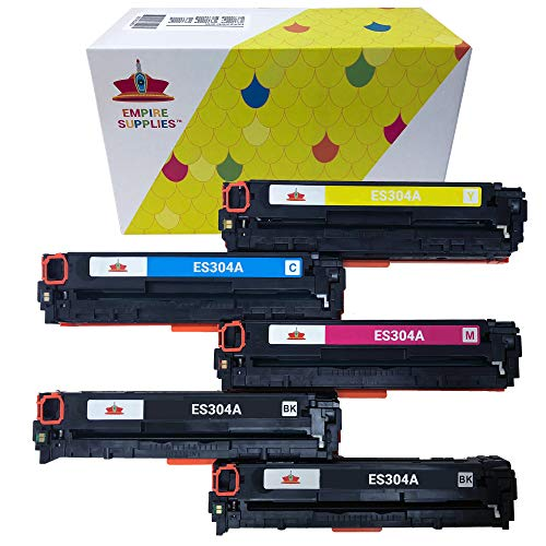 Empire Supplies Remanufactured Toner Cartridge Replacement for HP 304A CC530A CC531A CC532A CC533A Color Laserjet CP2025dn CM2320n CP2025n CP2025x CM2320nf CM2320fxi (5 Pack)