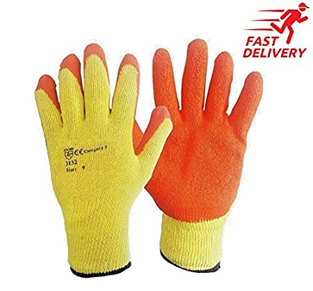 48, Large-9 48 Pairs Orange Latex Coated Rubber Work Gloves Builders Gloves Scaffolding Mens Safety Builders Gardening