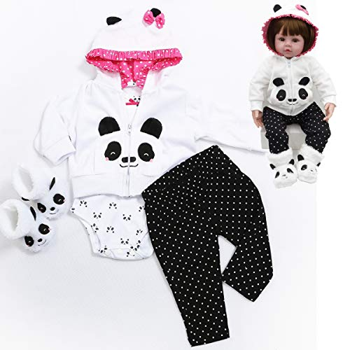 HUADOLL Reborn Baby Girl Dolls Clothes 18 inch Panda Outfits Accesories for 17-19 inch Reborns Doll Newborn Baby Girl Matching Clothing