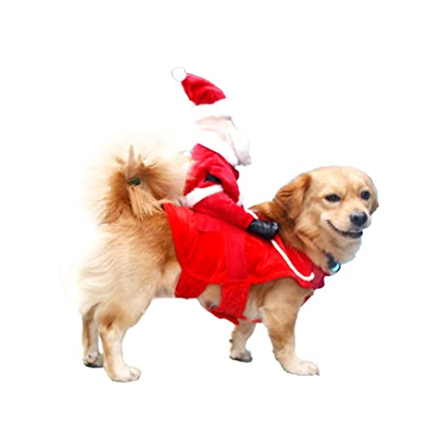 DELIFUR Dog Christmas Costumes Dog Santa Costumes Dog Rider Costumes Dog Xmas Costume for Dog Cat  sc 1 st  Amazon.com & Amazon.com : DELIFUR Dog Christmas Costumes Dog Santa Costumes Dog ...
