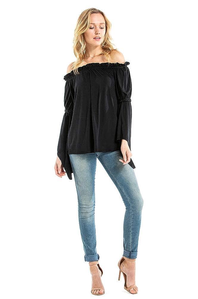 Black VAVA by Joy Han Womens Braid Bell Sleeve TOP VT2452