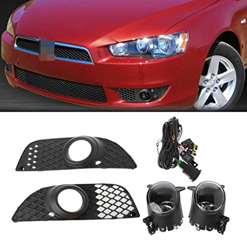 Fog Lights,NNDA CO Bumper Grille Fog Lights Lamp + Wiring Switch Kit For Mitsubishi Lancer 08-14,Amber